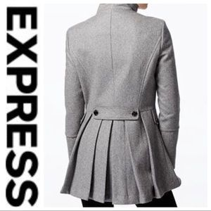 Jackets & Blazers - 💕SALE💕 Express Gray Wool Peplum Pleated Peacoat